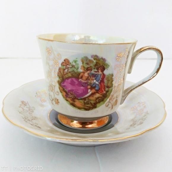 Vintage Other - Vintage Fragonard Courting Couple teacup & saucer